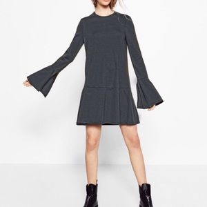 Zara Trafalic Grey Bell Sleeve Long Sleeve Dress